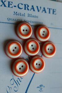 vintage 9 boutons en verre orange et rouge clair 12x13mm 3972D