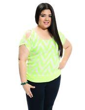 Women Plus Size Neon Green Chevron Sheer Blouse w/Cut out Sleeves. Size 2XL