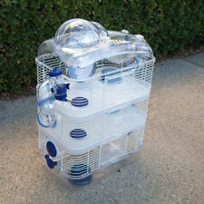 New 4 Level Sparkle Hamster Mice Mouse Cage with Large Top Running Ball Blue 148