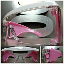 OVERSIZE HUGE SHIELD Style Clear Lens PARTY CLUB SUN GLASSES White & Pink Frame