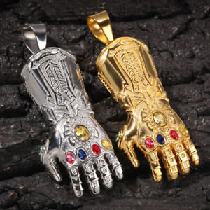 Thanos Infinity Gauntlet Hip Hop Necklace Pendant Jewelry Stainless Steel Chain