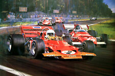 """Nicholas Watts print - """" A Tribute To Jochen Rindt """" - Signed by Ickx, Amon &"""
