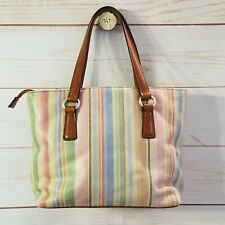Fossil Handbag Tote Bag Leather Striped Rainbow Spring Colors Pebbled