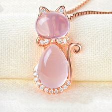 Cute Pink Lotus Stone Cat Shape Pendant Chain  Rose Gold Plated Necklace