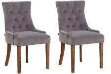 #LA97898/0709 2x Esszimmerstuhl Inverness Samt antik grau Küchenstuhl Stuhl