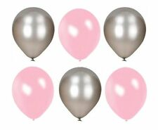 Pack of 25 12'' Latex Pearl Pink Silver Xmas Balloons Wedding Party Helium Air