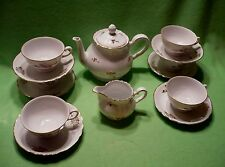 Set of (14) vintage RICHARD GINORI tea pieces pattern M. 4 GOLDEN ROSES on white