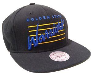 Golden State Warriors Mitchell & Ness Snapback Hat Black Script Logo Wool Blend