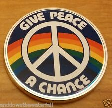 Give Peace a Chance Silver John Lennon Coin Beatles Rock Pop Music Rainbow Retro