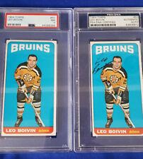1964-65 Topps- Tall Boys Hockey # 50, Leo Boivin PSA Graded: 7 + Autograph card