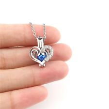 K952 Hollow Heart With Rhinestone Pearl Cage Silver Color Charm Necklace 18""