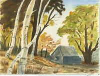 VINTAGE PRIMITIVE FOLK ART NAIVE GRAY CABIN HOUSE BIRCH TREES NATURE WC PAINTING
