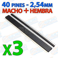 6x Tira 40 pines 3 HEMBRA + 3 MACHO 2,54mm - single row soldar