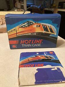 Hotwheels Hot Line 1970 Mattel Blue # 5845 Train Case With Blue Trays Plus Card