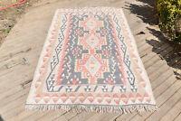 Turkish Kilim 54''x95'' Kayseri Wool Oriental Rug Vintage Area Rug 139x244cm