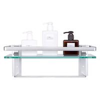 Vdomus Tempered Glass Bathroom Shelf w/ Towel Bar Wall Mounted Shower Storage