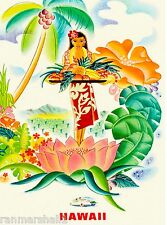 Hawaii Hawaiian Girl Fruit United States America Travel Advertisement  Poster