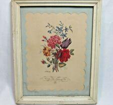 Botanical Lithograph Print Carnation Tulip Anemone & Rose LF Roubillac No 3 Vtg