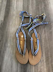 Sam & Libby Wrap Sandals Shoes Size 8.5 Blue Braided Flats