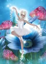 Flower Ballerina Birthday Card for women and girls adorable bright blue daisy