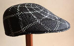 "Genuine Panama Hat Montecristi Flat cap ""Ivy"" black Men Woman Straw Ecuador"