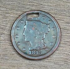 Rare Old US 1845 1c Braided Hair Copper Large Cent