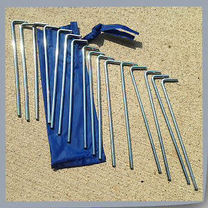 """Set of 16pc 7"""" Alloy Metal Camping Tent Peg Stake Outdoor Gazebo Canopy Parts"""