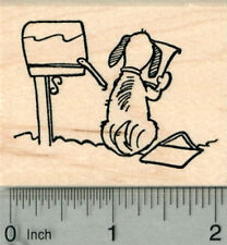 Dog with Mailbox Rubber Stamp, Wagging Tail with Mail H29705 WM