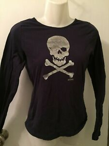 LOT 2 SKULL WINK CROSSBONES LONG SLEEVE BLUE BLACK WHITE ABSTRACT TOPS Size S/M
