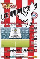 Programm 1. FC Union Berlin - FC Bayern München  14.03.2020 / 17.05.2020