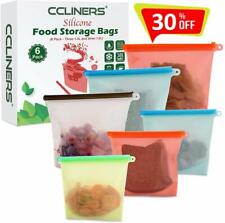 Silicone Bags 6 Pack (3 Large & 3 Medium) Reusable Silicone Food Storage Bags