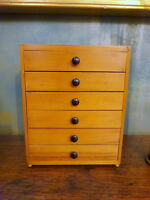 Small Vintage Collectors Desktop Pine Chest of Drawers Mid Century Modern
