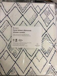 West Elm Organic Cotton Hand Drawn Diamonds Shower Curtain NWT Midnight Blue