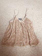 ASOS Nude Pink Sequin Shimmering Cami S Vintage Beige Camisole Art Deco Party