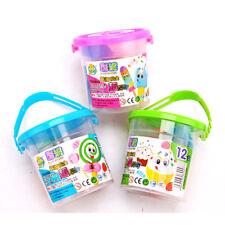 15PCS 12 Colorful Plasticine Modeling Clay Mud Set Kids DIY Craft Toy Bucket ohk