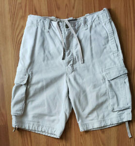 Mens Abercrombie Khaki Cargo Draw String Adirondack Thick Heavy Cotton Shorts 34