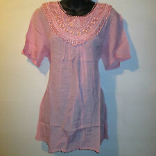 Top Fits XL 0X 1X Pull-Over Blouse Lace Neckline Silky Stretch Pink NWT 411