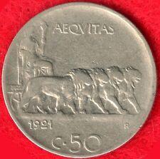 ITALY - 50 CENTESIMI - 1921 R - REEDED EDGE  *RARE*