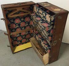 Transatlantic Malle Penderie Cabine Commode Ancien Bagage Vintage Design Luxe