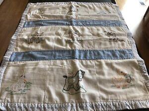VTG Handmade Blue Children's Baby Kids Quilt w/Duck, Horse, Dog, Elephant