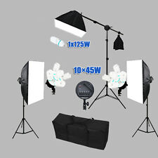 3425W Photography Photo Studio Video 3 Softbox Lighting Light Stand Boom Arm Kit
