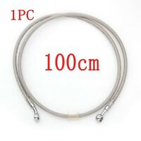 100CM Motorcycle Braided Brake Oil Hose Line Pipe Banjo Fitting Stainless Steel