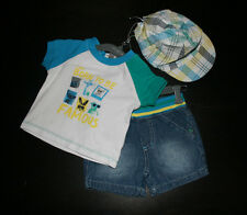 NEW Baby Boys Absorba Paris Born to be Famous Shirt Shorts Cap Outfit 0-3 Months