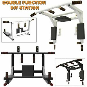 Pull Up Bar Wall Mounted Dip Station Home Gym Fitness Chinning Iron Bracket BLK
