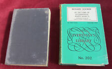 Of the Laws of Ecclesiastical Polity R Hooker Vols 1 & 2  Everyman  h/b no 201&2