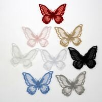 1-10Pc 3D Butterfly Iron-On/Sew-On Embroidered Patch, Organza Lace Applique Trim