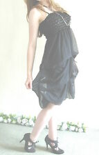 Party Dress Clubwear Black Ruffles Bubble BNWT - UK Size 10-12 - Empire