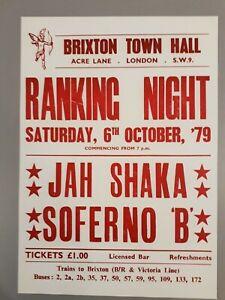Reggae & Ska promotional concert poster - Jah Shaka & Soferno B. 1979 A3 reprint