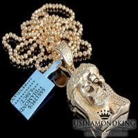 MENS MINI 1/2CT GENUINE REAL DIAMOND ROSE GOLD FINISH JESUS CROSS CHARM NECKLACE