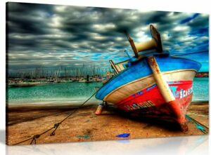 Landscape Colourful Boat On Sea Canvas Wall Art Picture Print